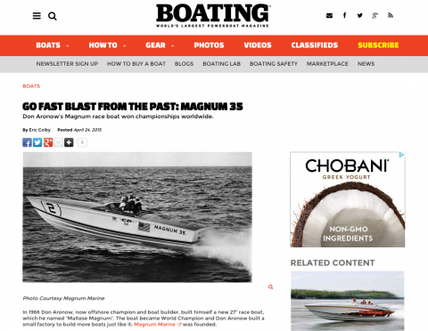 Boating Magazine Features Magnum 35 Go Fast Blast From The Past