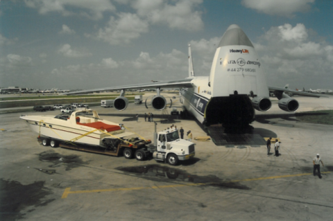Magnum 50 Bestia Coral Diver being loaded on Antonov cargo plane in Miami