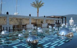 Infinity Pool ready for Nat's Rothschild birthday in port of Montenegro